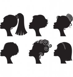 Silhouette woman hairstyle vector