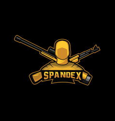 spandex suit with weapon logo mascot vector image