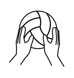 Sport hands with volleyball ball line style vector