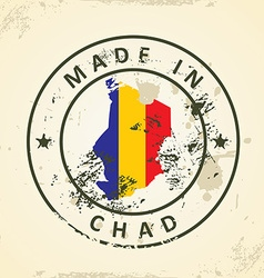 Stamp with map flag of Chad vector image