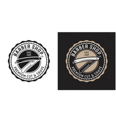 straight razor vintage round badge or logo vector image