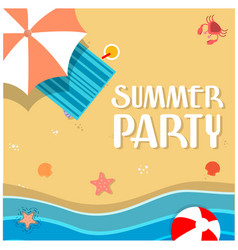 Summer party beach umbrella chair background vector