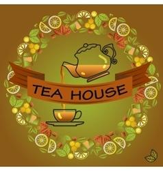 Tea house card Round frame with cup leaf lemon vector image