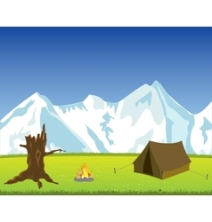 Tourist tent in mountain vector image