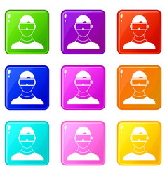 Virtual 3d reality goggles icons 9 set vector