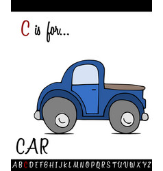 vocabulary worksheet card with cartoon car vector image vector image