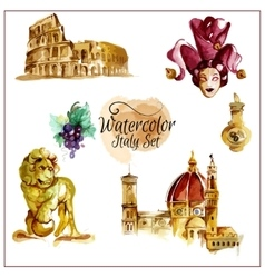 Watercolor italy set vector