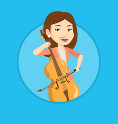 Woman playing cello vector