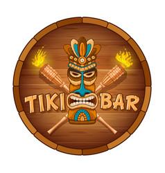 wooden tiki mask and signboard bar vector image