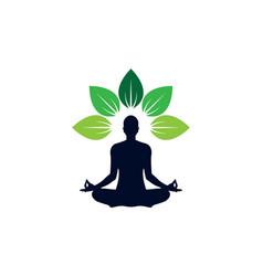 Yoga meditation logo icon concept vector