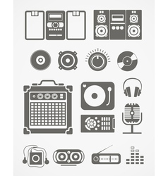 Audio equipment icons collection vector image vector image