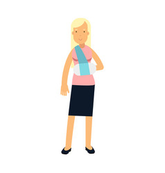 blonde woman with arm in a plaster colorful vector image