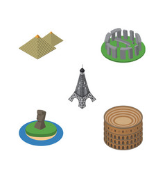 isometric cities set of paris chile egypt and vector image