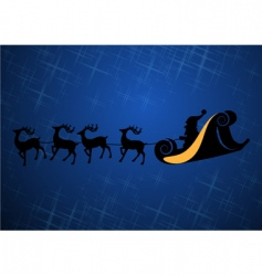 Santa Claus with his reindeers vector image
