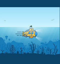 underwater yellow submarine vector image vector image