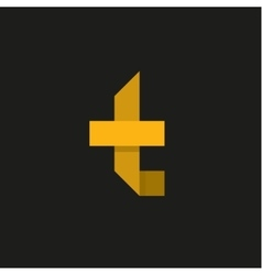 Yellow Letter T in the form of abstraction vector image vector image