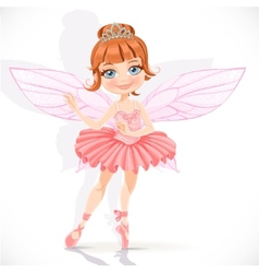 Beautiful little fairy girl in pink dress and vector image vector image