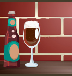 craft beer on a wooden table near a brick wall vector image vector image