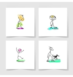Set of four marker hand drawing sketch doodle vector
