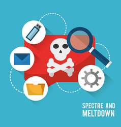 spectre and meltdown virus notification data vector image