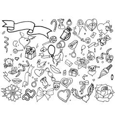 Valentine Day coloring line art design vector image