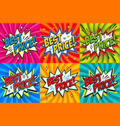 best price labels comic book style stickers sale vector image