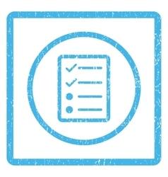 Checklist page icon rubber stamp vector