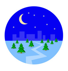 city metropolis in the winter snow night vector image vector image