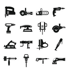 electric tools icons set simple style vector image
