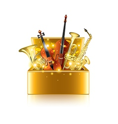 musical instruments box isolated vector image vector image