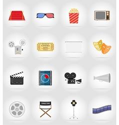 cinema flat icons 17 vector image