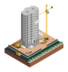 Construction Isometric Composition vector image vector image