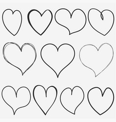 doodle hearts collection for for valentine hand vector image vector image