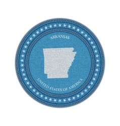 Label with map of arkansas Denim style vector image