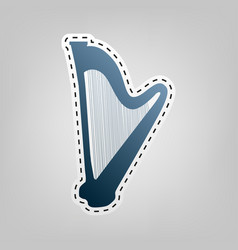 musical instrument harp sign blue icon vector image vector image