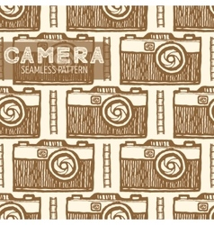 Old photo camera seamless pattern vector image