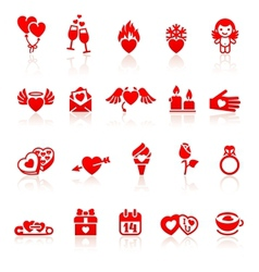 Set valentines day red icon vector image vector image