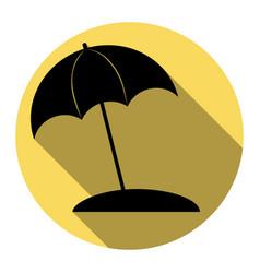 umbrella and sun lounger sign flat black vector image