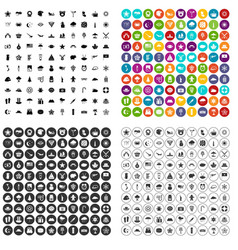 100 star icons set variant vector