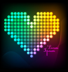 a beautiful multicolored heart with a neon effect vector image