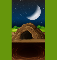A cave at nigth scene vector