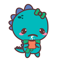 An aching dinosaur with a mug stickers vector