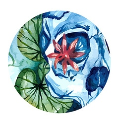 Aquarelle skull with lotus in river vector