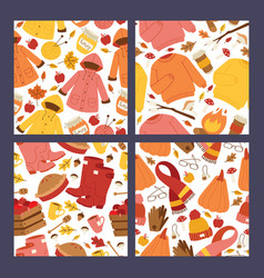 autumn symbols banner items card with clothes vector image