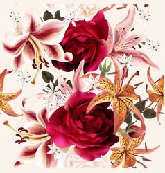 beautiful seamless floral pattern with roses vector image