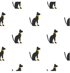 Black sitting egyptian cat pattern seamless vector
