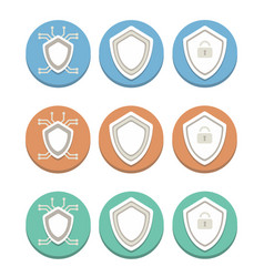 Blue brown and green icons a shield of vector