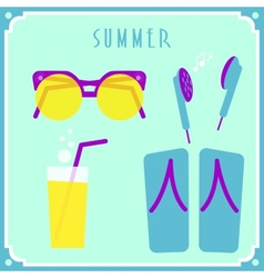 Blue summer card with sunglasses headphones vector image