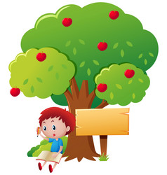 boy writing under the apple tree vector image