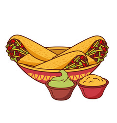 Burritos guacamole ad cheese mexican food vector